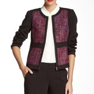 Trina Turk | Size 6. Black and Purple Tweed Blazer